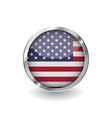 flag of united states of america button with vector image