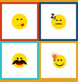 flat icon emoji set of cheerful have an good vector image vector image