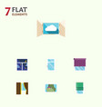 flat icon window set of cloud clean glass and vector image vector image