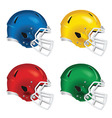 Football helmets with white facemasks vector image vector image