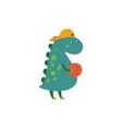 funny cartoon kid dinosaur cute green dino vector image vector image