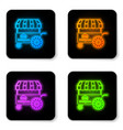 glowing neon fast street food cart with awning vector image vector image