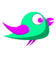 green bird with purple eyes on white background vector image vector image