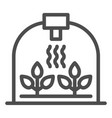greenhouse with leaf line icon sprout growth vector image