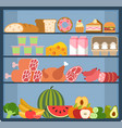 grocery shelves food store assortment on vector image