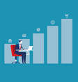 growth businessman working and graph to success vector image