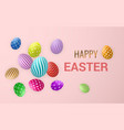 happy easter easter eggs on light red background vector image vector image