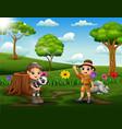 happy safari kids in park land vector image vector image