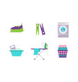 laundry set washing machine basin clothespin vector image