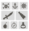 monochrome icons with pirate stuff vector image vector image