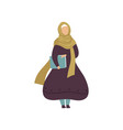 muslim woman holding folder with papers modern vector image