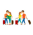people traveling man and woman reading map atlas vector image vector image