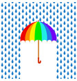 rainbow umbrella under rain greeting card stock vector image vector image