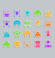 robot patch sticker icons set vector image vector image