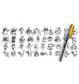robots doodle set vector image vector image