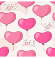 Seamless pattern with pink heart balloons and lett