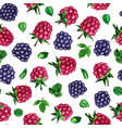 seamless pattern with watercolor rasberries vector image
