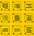Set of motivational quotes about speech words talk vector image vector image