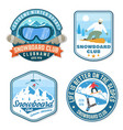 set of snowboard club patches concept for vector image vector image