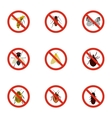 Signs of insects icons set flat style vector image vector image