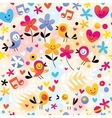 singing birds hearts and flowers pattern vector image