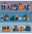Stateless refugees banner set vector image