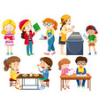 students doing different activities vector image vector image