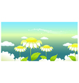 Sunflower under a clouded sky vector image vector image