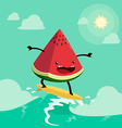 surfing watermelon vector image