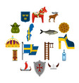 sweden travel set flat icons vector image vector image