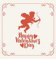 valentine card with cupid bow arrow and hearts vector image vector image