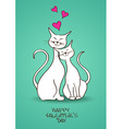 Valentines greeting card with pair of cats vector image vector image