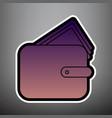 wallet sign violet gradient vector image