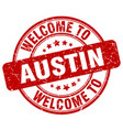 welcome to austin red round vintage stamp vector image vector image