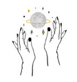 womens hands holding textured planet and stars vector image
