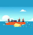 world ocean pollution people in boat collecting vector image vector image
