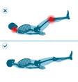 wrong and correct leg raise drop right execution vector image vector image