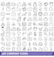 100 company icons set outline style vector image