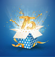75 th years anniversary and open gift box vector image vector image
