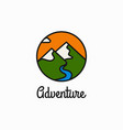 adventure linear logo mountains and river circle vector image