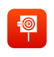arrow in the center of target icon digital red vector image vector image