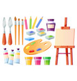 artist tools brushes palette easel and paints vector image