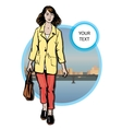 Beautiful young women in a casual clothes on city vector image