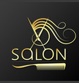 beauty salon scissors and comb golden vector image vector image