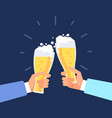beer manly background men toasting hands clink vector image vector image