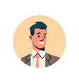 brunette businessman avatar man face profile icon vector image