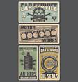 car repairing service retro posters for garage vector image vector image