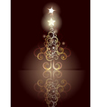 Card with Decorative Christmas Tree4 vector image