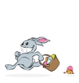 cartoon easter rabbit with basket full eggs and vector image