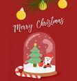 christmas santa claus snow globe greeting card vector image vector image